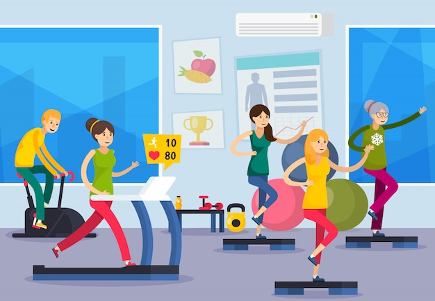 Fitness training people orthogonal composition Free Vector