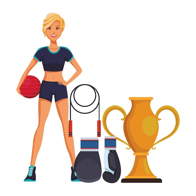 Fitness woman cartoon Premium Vector