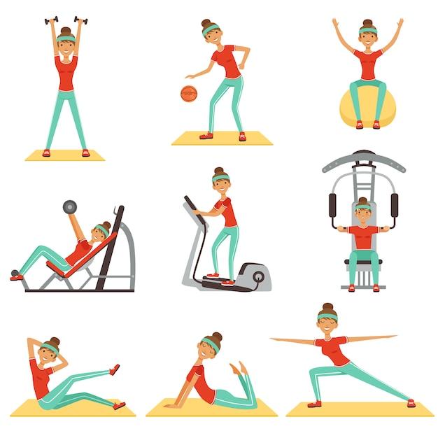 다채로운 삽화의 스포츠 장비 세트와 체육관에서 운동 휘트니스 여자 프리미엄 벡터