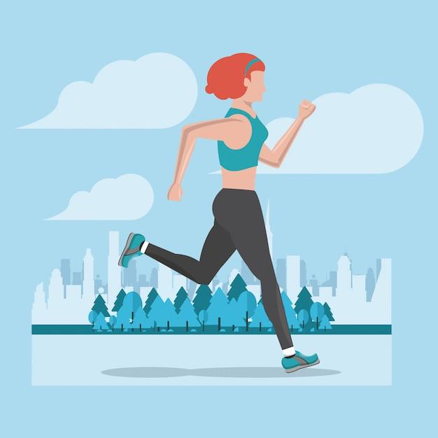 Фитнес женщина работает Premium векторы