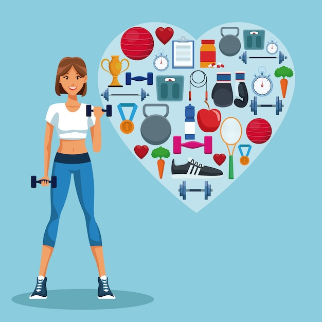 Fitness Woman With Sport Heart Shaped Symbols Vector Premium Download