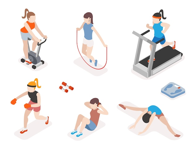 Fitness women in gym, gymnastics workout and yoga exercises. 3d isometric icons. sport people, health and jumping rope, Free Vector