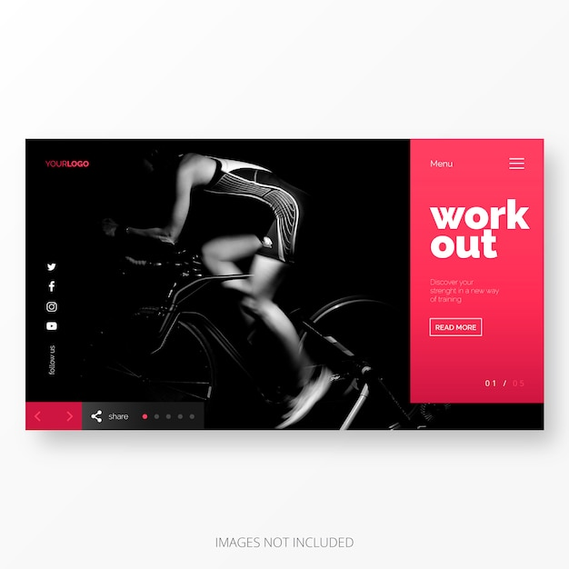 Fitness and work out landing page template Free Vector