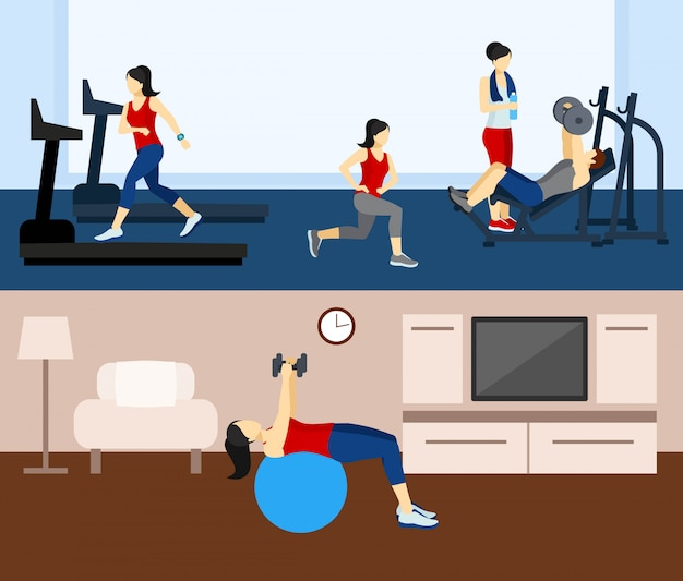 Fitness workout backgrounds Free Vector