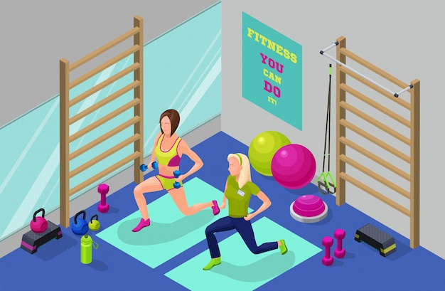 Fitness workout infographic isometric illustration Premium Vector