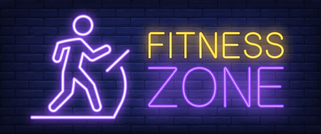 Fitness zone neon sign. glowing bar lettering Free Vector