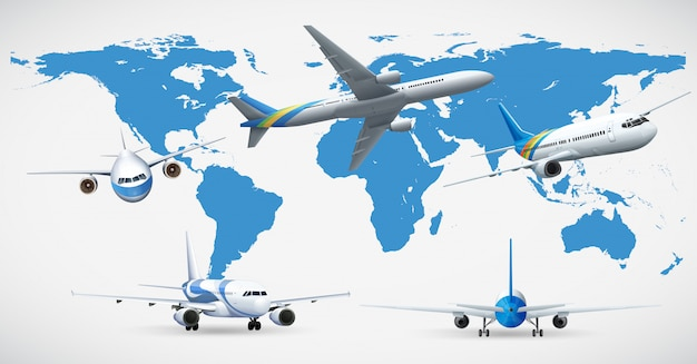 Five airplanes and blue map Free Vector