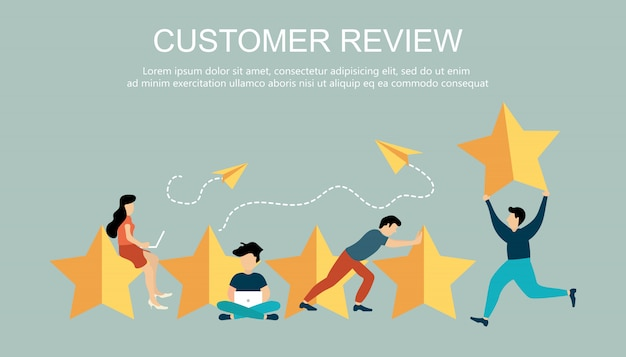 Five big stars with people for customer review concept Premium Vector