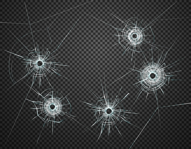 Five bullet holes in glass closeup realistic image against dark transparent background  illustration Free Vector