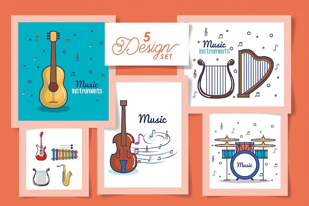 Five cards of instruments music icons Premium Vector