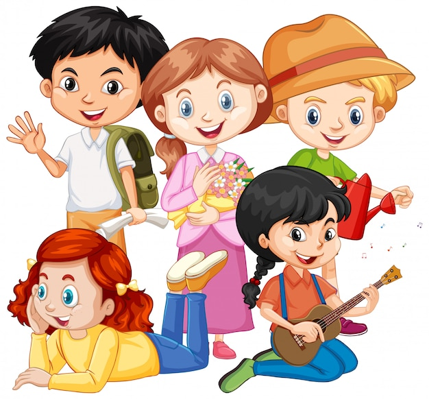 Five children with different hobbies Free Vector