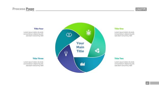 5つの円の要素スライドテンプレート Premiumベクター