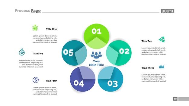 Five circle flowchart slide template. business data. graph, diagram Free Vector