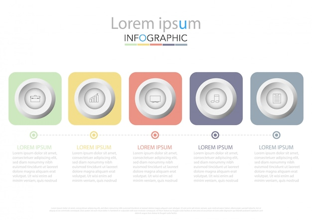 Five colorful rectangular elements, thin line pictograms, pointers and text boxes Premium Vector