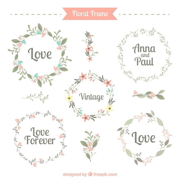 Five cute floral frames Free Vector