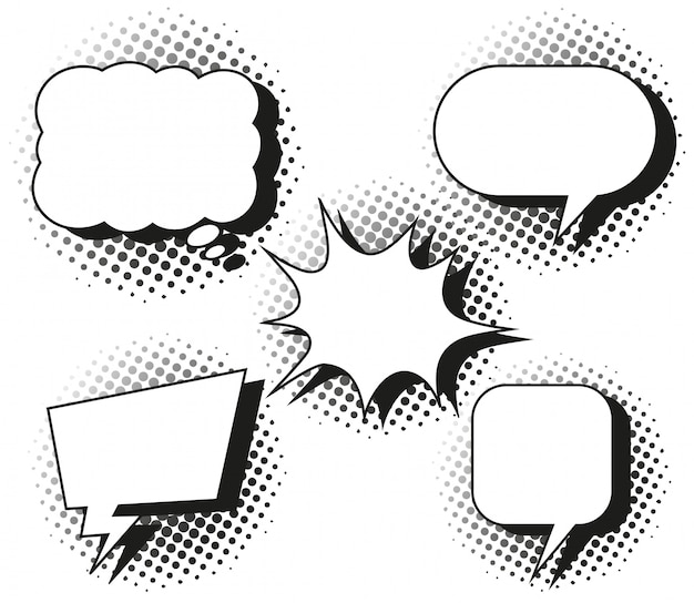 Five designs of speech bubbles Free Vector