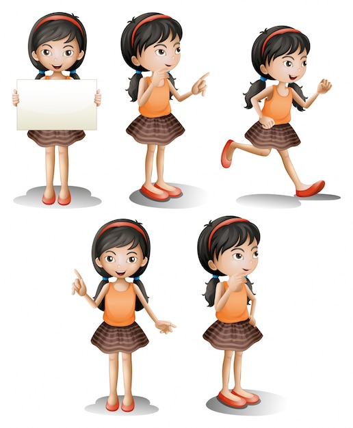 Five different positions of a girl Free Vector