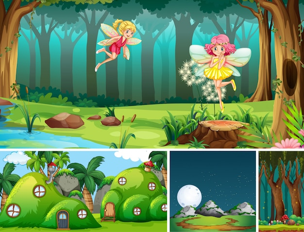 Five different scene of fantasy world with beautiful fairies in the fairy tale and antnest Free Vector