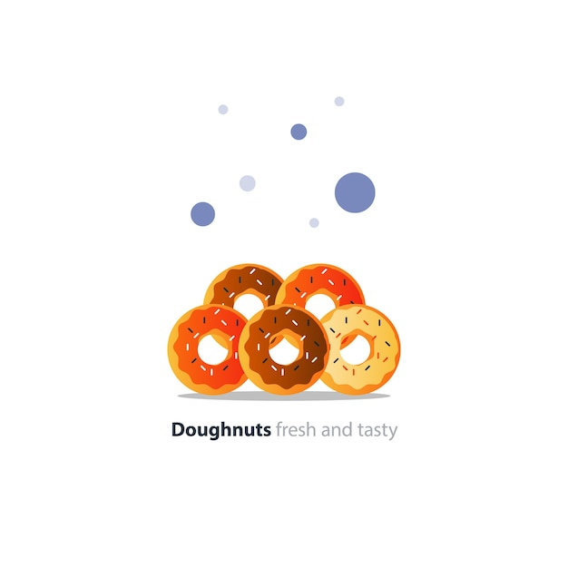 Five diverse colorful doughnuts in pile, sweet tasty ring donuts icon, glazed doghnuts with sprinkles Premium Vector