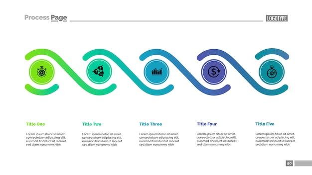 Пять элементов обрабатывают шаблон диаграммы. бизнес-данные. Бесплатные векторы