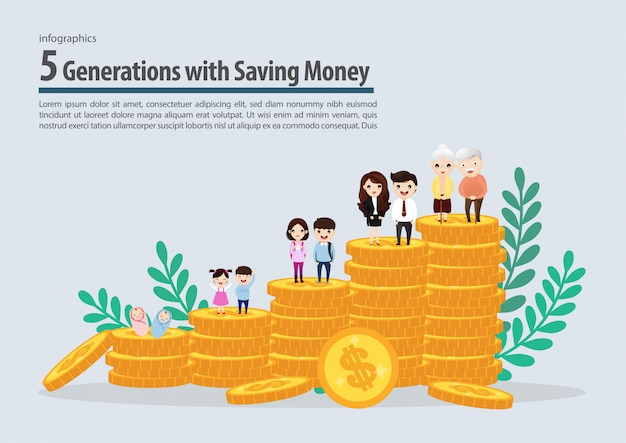 Five generation with saving money collection infographic. vector, illustration. Premium Vector