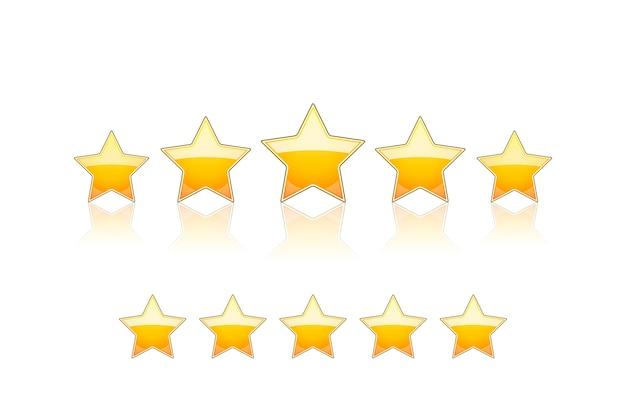 Пять золотых звезд изолированы Бесплатные векторы