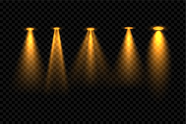 5つのゴールデンフォーカススポットライト効果背景デザイン 無料ベクター