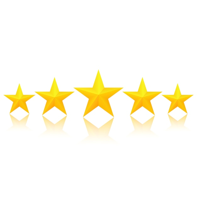 Five golden stars with reflection Premium Vector