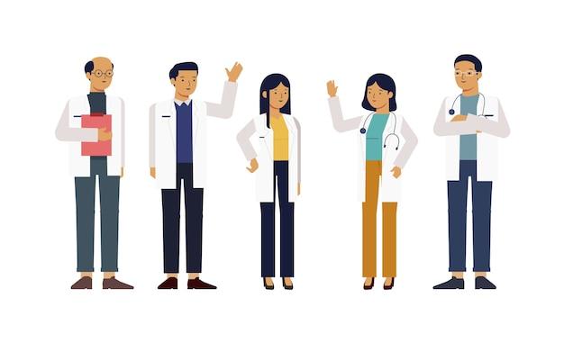 5人の良い医者のキャラクター Premiumベクター
