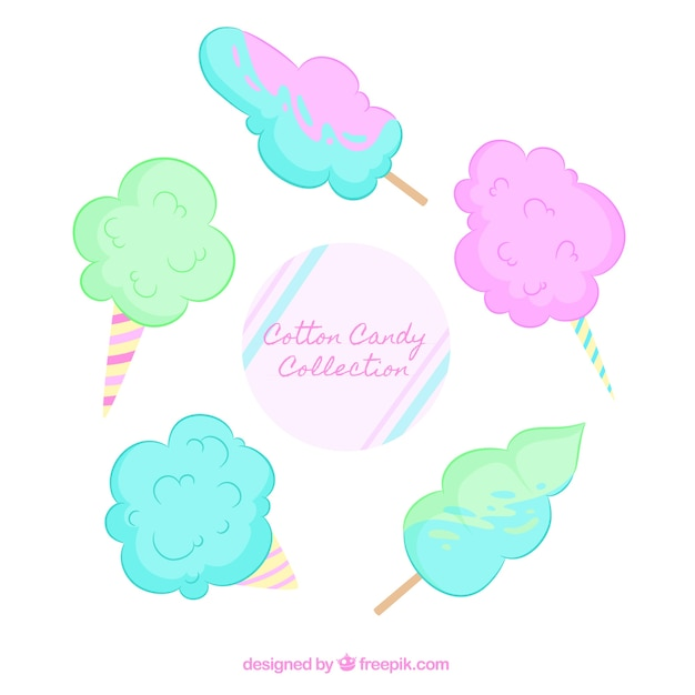Five hand drawn candy cottons