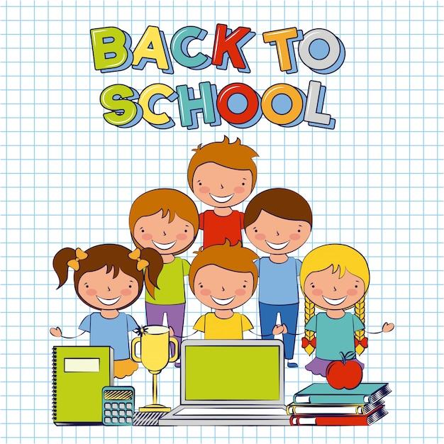 Five kids with school elements back to school illustartion Free Vector