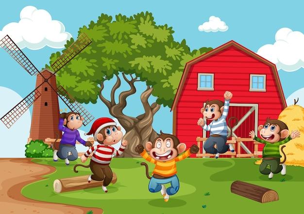 農場のシーンでジャンプする5匹の小猿 無料ベクター