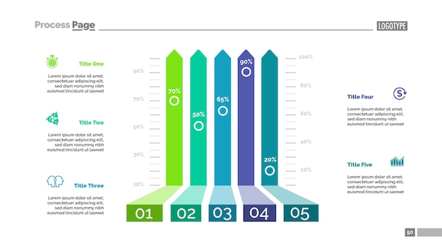 five options bar chart template for presentation vector free download