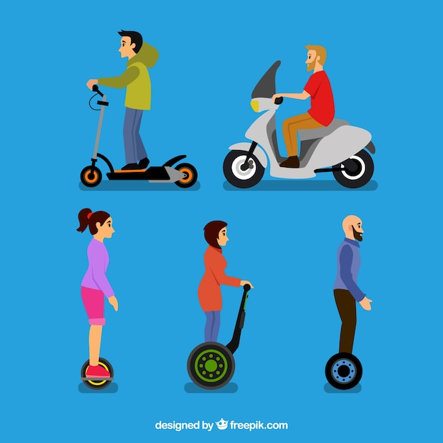 Five persons on electric scooters Free Vector