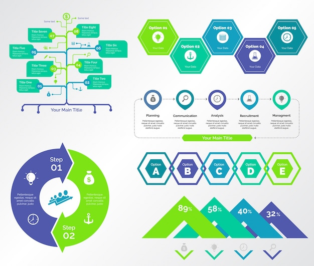 Five planning charts templates set Free Vector