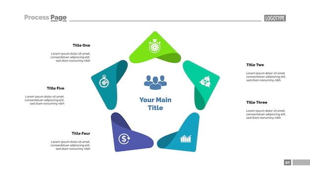 Five points process chart template. business data visualization. Free Vector