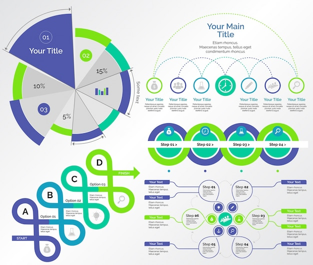 Five Research Charts Templates Set Free Vector  Charts Templates