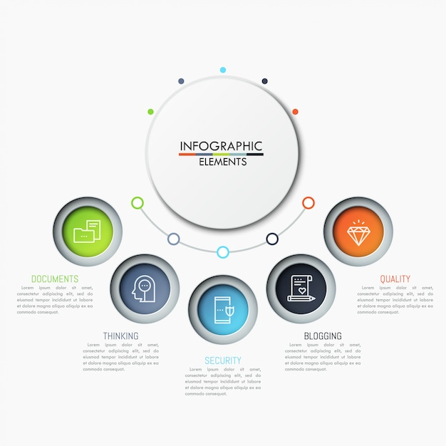 Five separate circular elements with icons and text boxes placed in semicircle way. Premium Vector