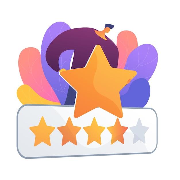 Пятизвездочная оценка. оценка, рейтинг, оценка. отличный отзыв, удовлетворенность клиентов обслуживанием, высшая оценка. отзыв клиента. Бесплатные векторы