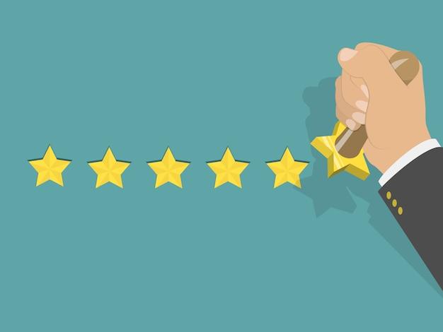 Five star rating isometric vector illustration. Premium Vector