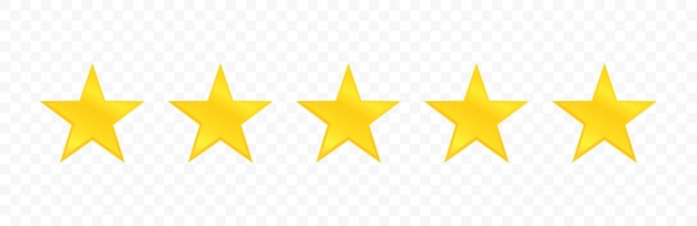 Five stars quality icon isolated on transparent background. stars rating review. Premium Vector