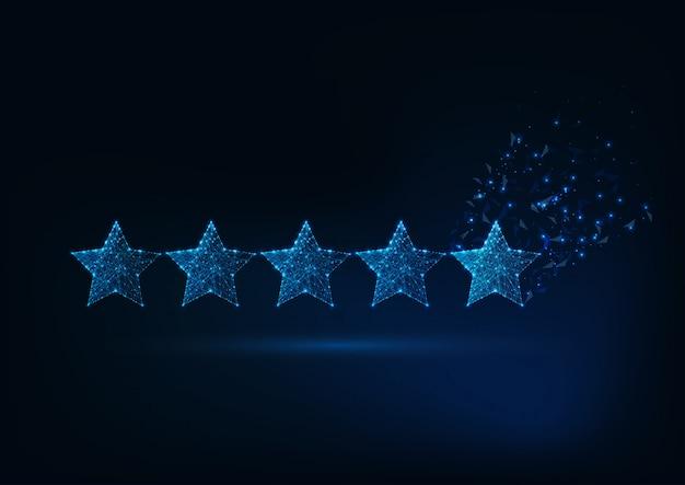 Five stars rating concept. Premium Vector