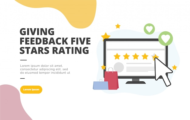 Five stars rating flat design banner illustration Premium Vector