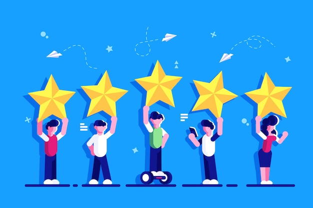 Five stars rating flat style vector concept. people are holding stars over the heads. feedback consumer or customer review evaluation, satisfaction level and critic. rating. feedback for web page. Premium Vector