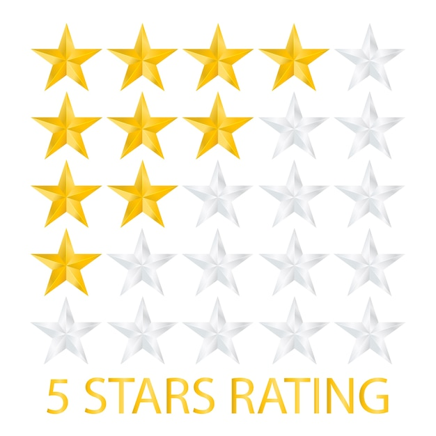Five stars rating on white background Premium Vector