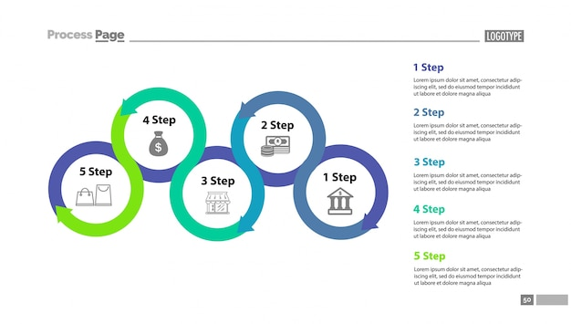 Five step process chart with descriptions Free Vector