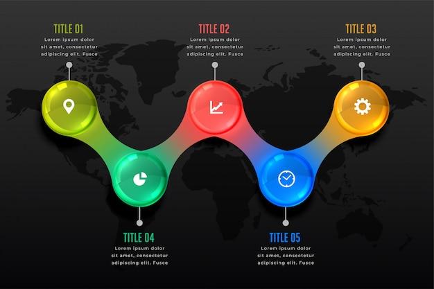 Five steps dark infographic presentation template Free Vector