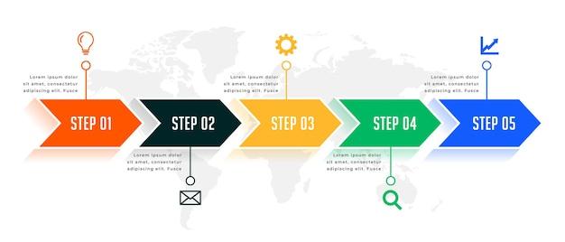 5 단계 방향 타임 라인 인포 그래픽 템플릿 디자인 무료 벡터