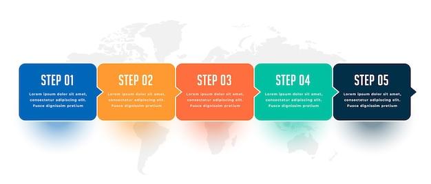 Cinque passi moderno business infografico modello di progettazione Vettore gratuito