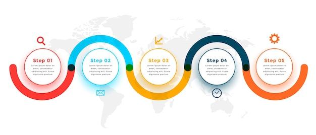 5つのステップのモダンなインフォグラフィックテンプレートデザイン 無料ベクター